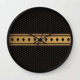 Rich Black Gold Diamond Pattern Design Wall Clock