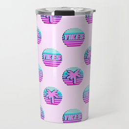 "Vaporwave pattern with palms and words ""yikes"" #2 Travel Mug"