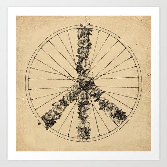 Peace & Bike (Lines) Art Print