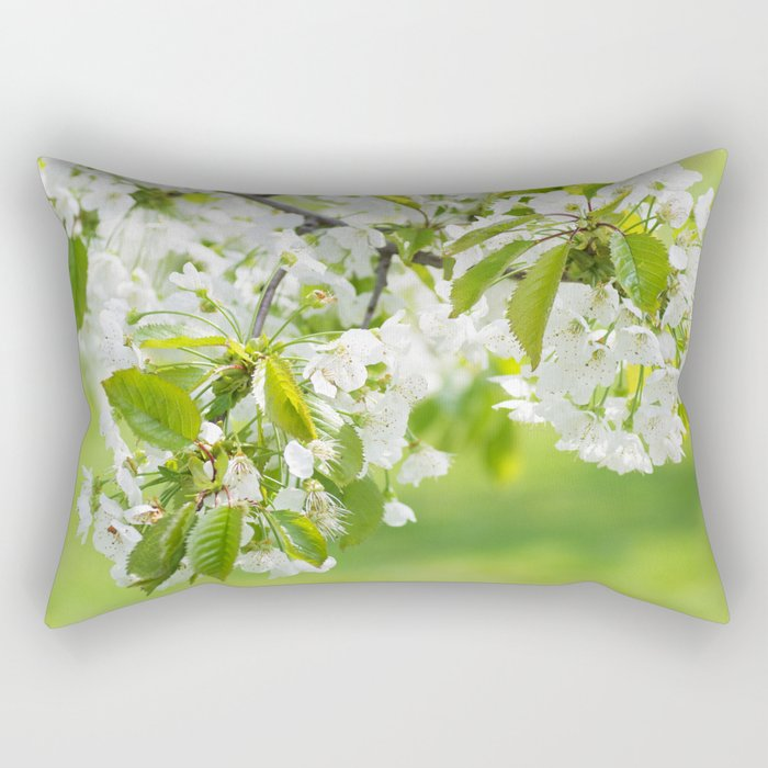 White cherry blossoms romance Rectangular Pillow