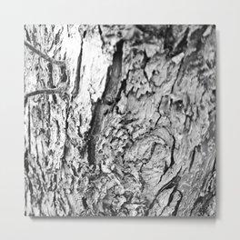 Tree Bark Black and White Metal Print