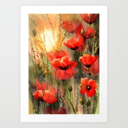Real Red Poppies Art Print