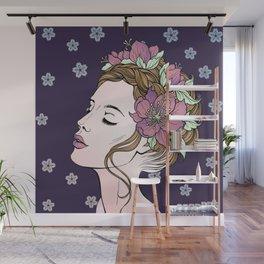 Flower Crown Girl Wall Mural