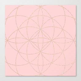 pink rose gold mandala pattern Canvas Print