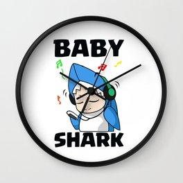 Baby Shark listening music Wall Clock