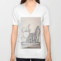 cacti V-neck T-shirts featuring Cacti by Goni Halevy