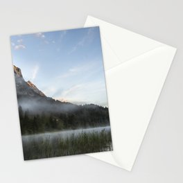 Mist on Alp mountain at Ferchensee. Amazing shot of the Ferchensee lake in Bavaria, Germany, in front of a mountain. Scenic foggy morning scenery at sunrise. Stationery Cards