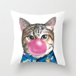 handsome cat blowing bubble gum Throw Pillow