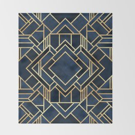 Art Deco Fancy Blue Throw Blanket