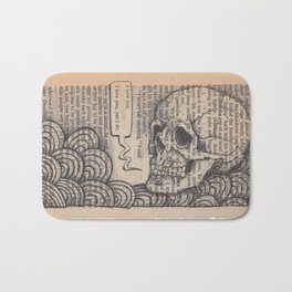 Book Page Art: I Love You Skull Bath Mat