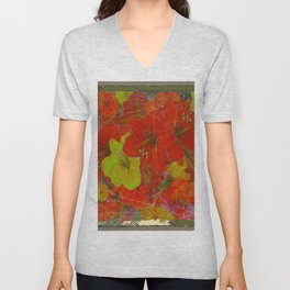 GRUNGY ANTIQUE RED FLORAL STILL LIFE BOUQUET Unisex V-Neck