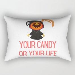 Pumpkin Grim Reaper Candy or Life Rectangular Pillow