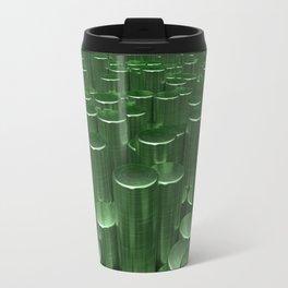 Pattern of green brushed metal cylinders Travel Mug