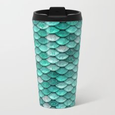 Aqua & mint mermaid glitter scales - Luxury Mermaid Scales Metal Travel Mug