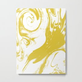 Suminagashi 1 gold marble spilled ink ocean swirl watercolor painting marbled pattern Metal Print