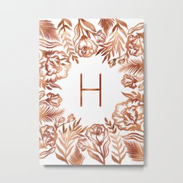 Letter H - Faux Rose Gold Glitter Flowers Metal Print