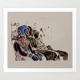 BRONX BOXING BOYS - sepia/blue version Art Print