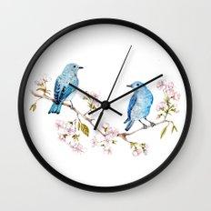 Mountain Bluebirds on Sakura Branch Wall Clock