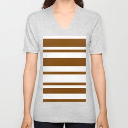 Mixed Horizontal Stripes - White and Chocolate Brown Unisex V-Neck