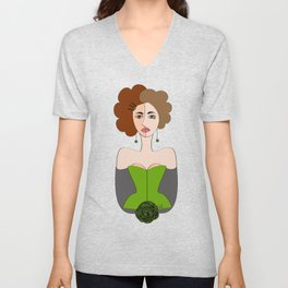 Ladies at the Saloon - The Green Saloon by IxCO Unisex V-Neck