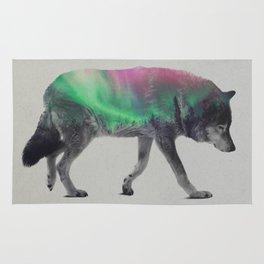 Wolf In The Aurora Borealis Rug