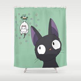 Jiji x Spirited Away (bathhouse green) Shower Curtain