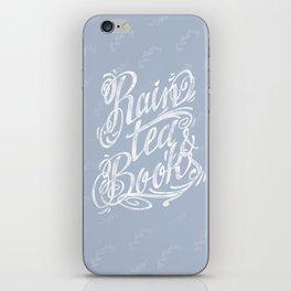 Rain, Tea & Books - White lettering only iPhone Skin