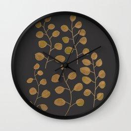 Gold Eucalyptus Leaves Wall Clock