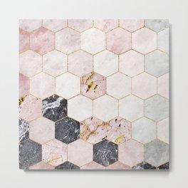 Hexagon Pink Marble Honeycomb Mosaic Metal Print