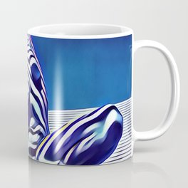 9124s-KMA Powerful Nude Woman Open and Free Striped in Blue Coffee Mug