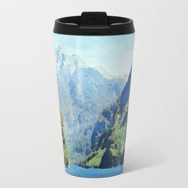 Fjord in watercolor Travel Mug