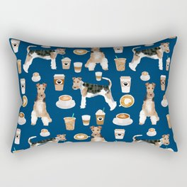 Wire Fox Terrier coffee dog pattern dog lover gifts for dog person dog breeds pet friendly Rectangular Pillow
