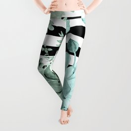 Succulents in the Garden Teal Blue Green Gradient with Black Stripes Leggings