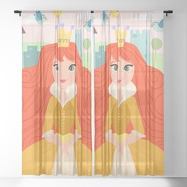 Fairy Tale Princess And Her Storybook Castle - Golden Dress Sheer Curtain