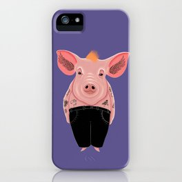 Cool Pig with Tattoos | Violet iPhone Case