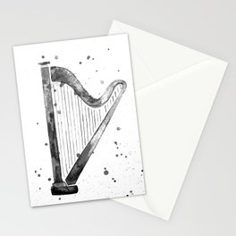 Harp, black and white Stationery Cards