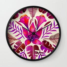 Tropical Symmetry – Magenta Wall Clock