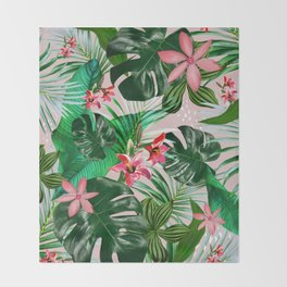Tropical palm leaf with red flowers Throw Blanket