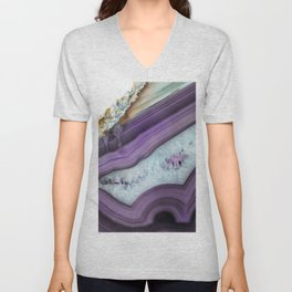 Purple Agate Slice Unisex V-Neck