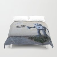 banksy Duvet Covers featuring Banksy Robot (Coney Island, NYC) by Limitless Design