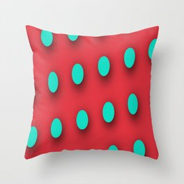 Teal Poka Dots on Strawberry Red Throw Pillow