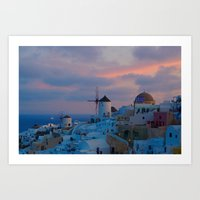 Santorin Windmill Sunrise Delight Art Print