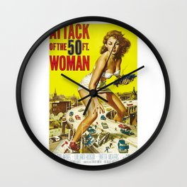Attack Of The 50 Foot Woman, vintage horror movie poster Wall Clock