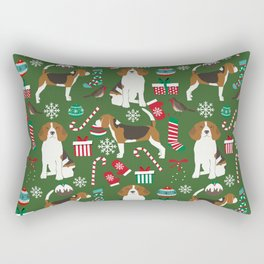 Beagle christmas pet friendly dog breed pattern present wrapping paper for dog lover Rectangular Pillow