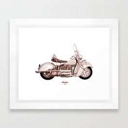 1940 Indian 440 Motorcycle Drawing Framed Art Print