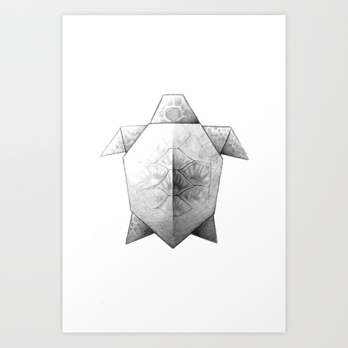 Turtle Origami Art Print By Littleoaklets Society6