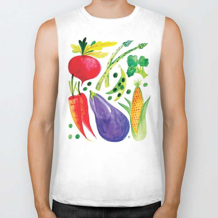 Veg Out - Vegetable, Veggies, Watercolor, Food, Beet, Carrot, Pea Biker Tank