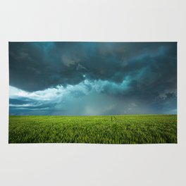 April Showers - Colorful Stormy Sky Over Lush Field in Kansas Rug
