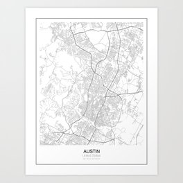 Austin, Texas Minimalist Map Art Print