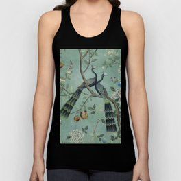 A Teal of Two Birds Chinoiserie Unisex Tank Top
